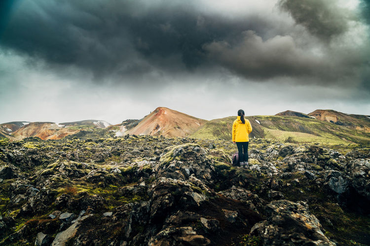 Adult Adults Only Adventure Beauty In Nature Cloud - Sky Full Length Hiking Iceland Leisure Activity Men Mountain Nature One Man Only One Person Only Men Outdoors People Rear View Recreational Pursuit Scenics Sky Storm Cloud Travlr Vacations Lost In The Landscape
