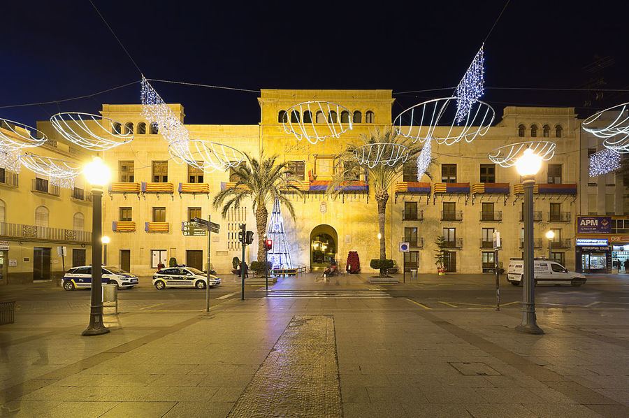 Elche, Spain. December 18, 2017: Town Hall Square of the city of Elche, with Christmas decoration. Alacant Alicante Alicante Province Spain Christmas Elche Elx SPAIN Spanish Travel Architecture Building Exterior Built Structure Chrismas Lights Christmas Decoration Christmas Ornament City Illuminated Night No People Outdoors Sky Street The Way Forward Travel Destinations