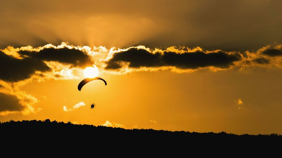 Low angle view of silhouette people paragliding against sky during sunset