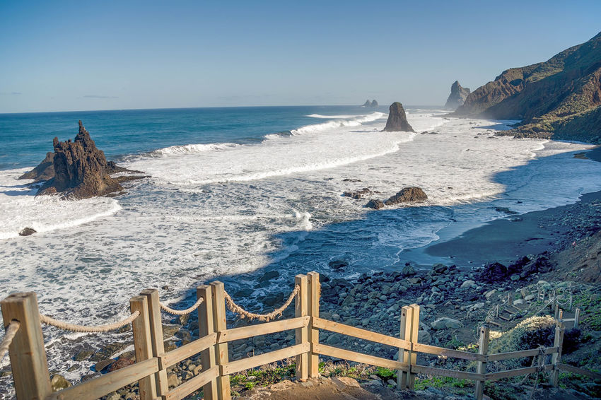 Benijo Taganana Tenerife SPAIN Canary Islands Atlantic Ocean Sea Water Sky Beauty In Nature Scenics - Nature Nature Land Horizon Over Water Motion Wave Beach Horizon Rock Day Tranquil Scene Surfing Tranquility Rock - Object Outdoors Power In Nature