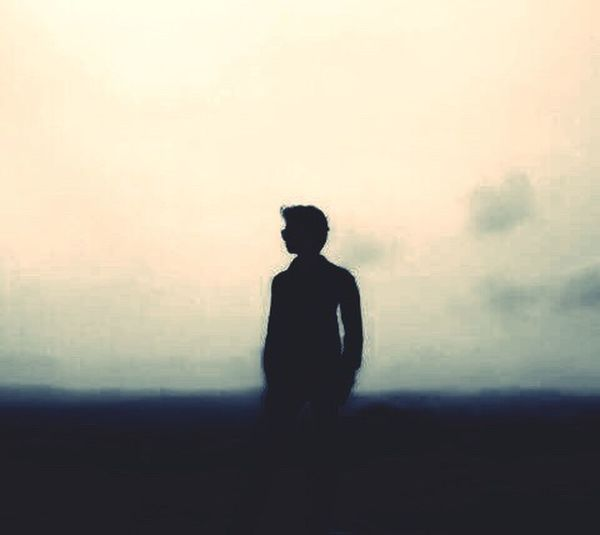 Men Silhouette Standing Fog Lifestyles Leisure Activity Waist Up Solitude Tranquil Scene Scenics Dark Getting Away From It All Calm Remote Escapism Foggy Mist Outline Sky
