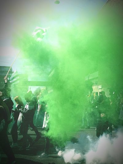 Bajentåget Green Color Hammarby Bajentåget Bajenland Bajen Football Succer Södermalm Södermalm Stockholm Parade Fans April Outdoors Nature People Togetherness Togetherforever