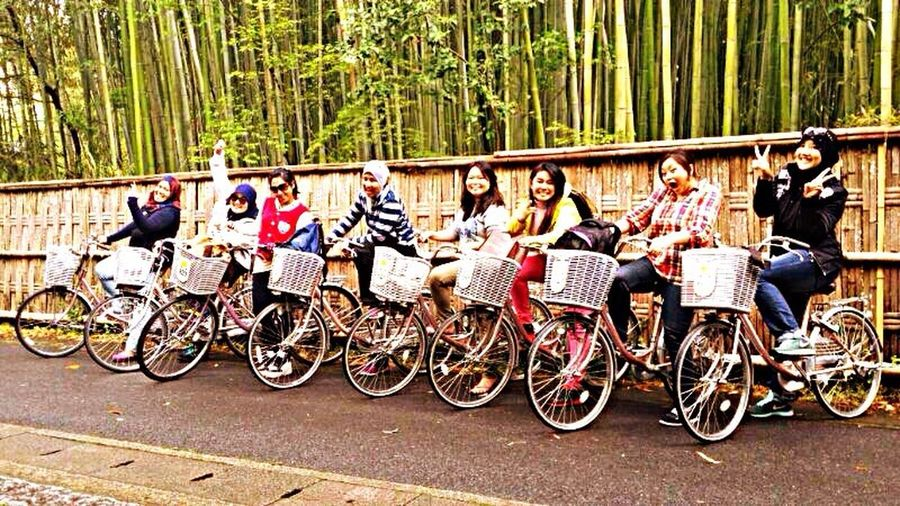 Adventure Buddies Happy faces for the photo! The real adventure came right after when we need to cycle on rainy day KyotoBambooForest Japantrip Friends
