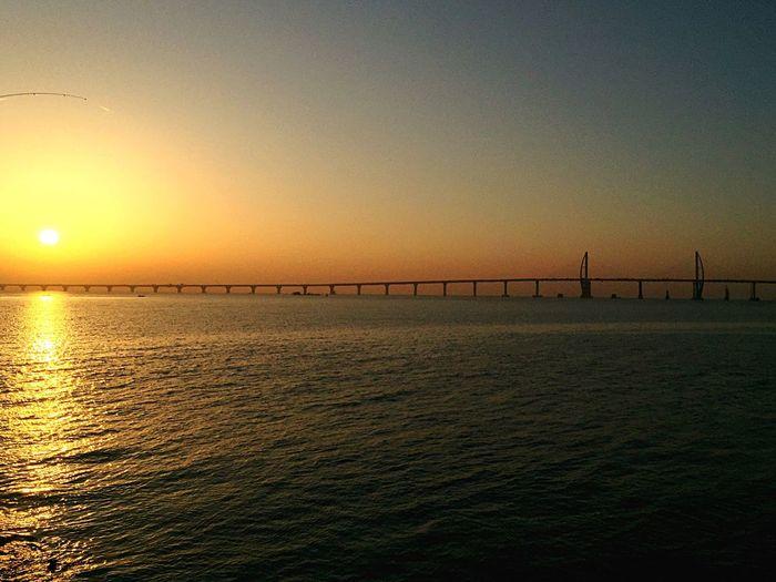 Sunrise Sunrise Sun Hong Kong Macau Bridge Bridges Bridge - Man Made Structure LongestBridge Pearl River Zhuhai China Hong Kong Macau Zhuhai Bridge