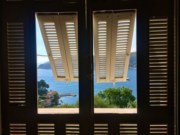 Window Shutters Blinds Viewpoint Sea France Paradise Tropical Garden Collonial Villa