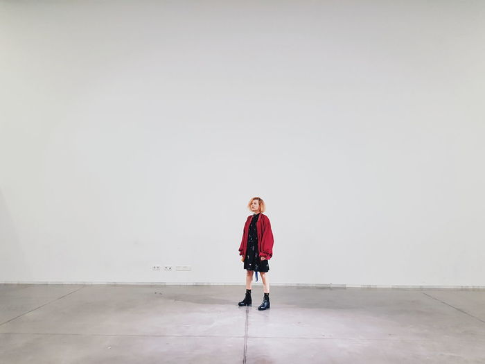 Museum space Museum Exhibition WhiteBox Girl Ginger Cute Nordic Disseny Hub Barcelona Small person Black Dress Alone Lonely Future Full Length Caucasian Wearing Art Museum Modern Art The Modern Professional