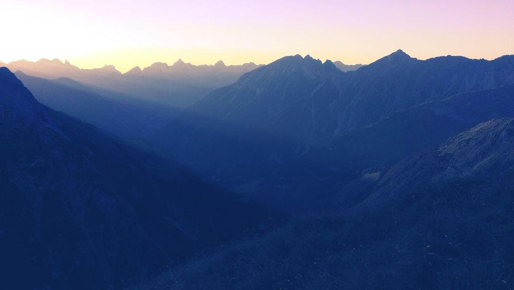 Alpine Sunset. Mountains Alpenglühen E5