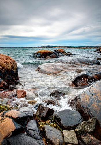 By the sea Beach Beauty In Nature By The Sea Cloud - Sky Cloudy Coastline Horizon Over Water Landscape Nature Rock Rock - Object Rock Formation Scenics Sea Shore Sky Tranquil Scene Tranquility Water Blue Wave Fine Art Photography