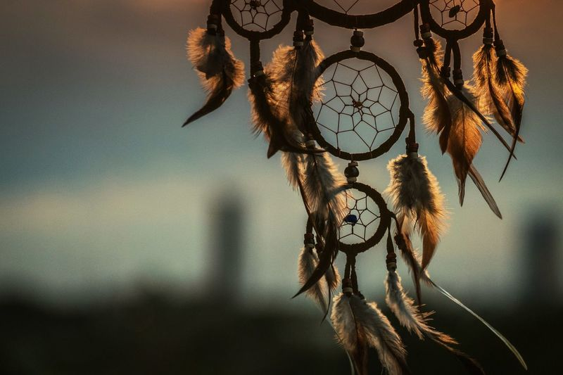 Close-Up Of Dreamcatcher Hanging Outdoors