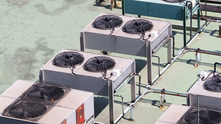 High angle view of air conditioners