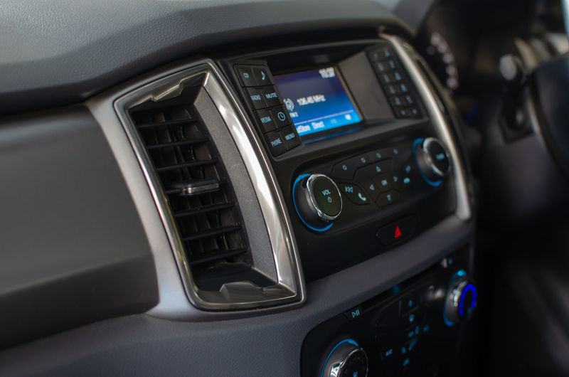 Close-up of music system in car