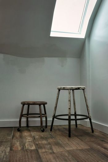 Simplicity Stool Skylight Ontario, Canada Light And Shadow Ray Of Light Day Indoors  Wood Floor Chair Deterioration Run-down Damaged Rusty Weathered 17.62°