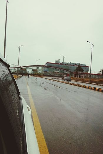 Sky Nature Outdoors Day Qmobile Mobilephotography Islamabad Driving Car Transportation Rain Wet Weather City Morning Winter Road Toyota Vitz Cold Temperature Pakistan Beauty In Nature Freshness
