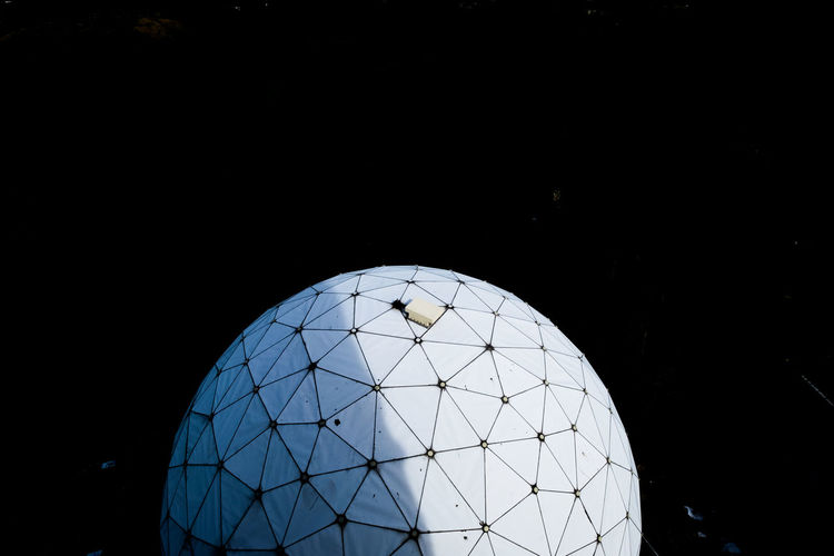 Modern Architecture Black Background Blue Built Structure Clear Sky Close-up Contract Copy Space Design Dome Modern Technology Nature Night No People Outdoors Pattern Planet Earth Radar Radar Station Shape Sky Space Sphere Teufelsberg