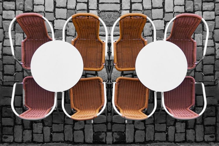 Chair Directly Above Large Group Of Objects Table No People Outdoors Day