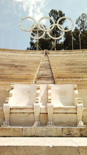 Athens Stone Chairs Stone Chair Olympic Stadium Olympic Old Antique Olympic Rings Sunny Day Outdoor Photography