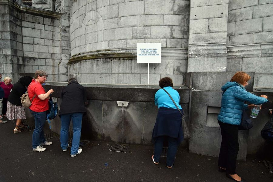 France Lourdes Rear View Spring Water Standing Taps Wall Water Water_collection