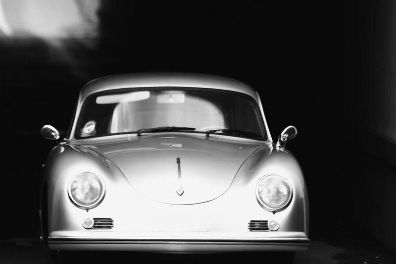 Old Porsche. Retro Styled Car Old-fashioned No People Close-up Black Background Outdoors Classic Car Porche Cars Classic Black And White Collection  Black & White Black And White Photography
