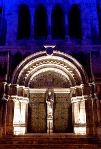 Statue of illuminated historic building at night