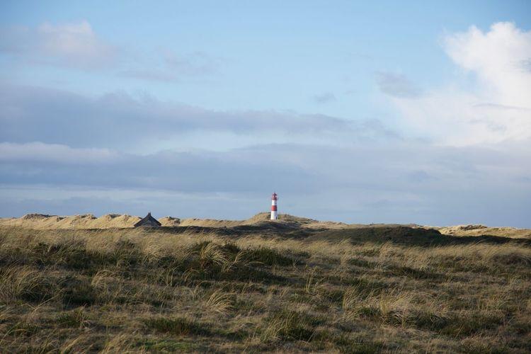 Dunes Grass Lighthouse Nature Blue Sky No People Sand Sand Dunes