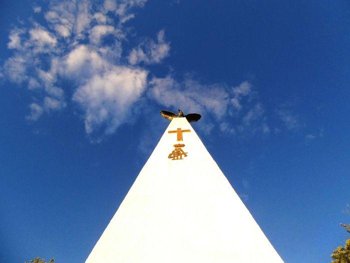 EyeEm Selects Bird Blue Weather Vane Sky Architecture Building Exterior Built Structure Cloud - Sky Cross
