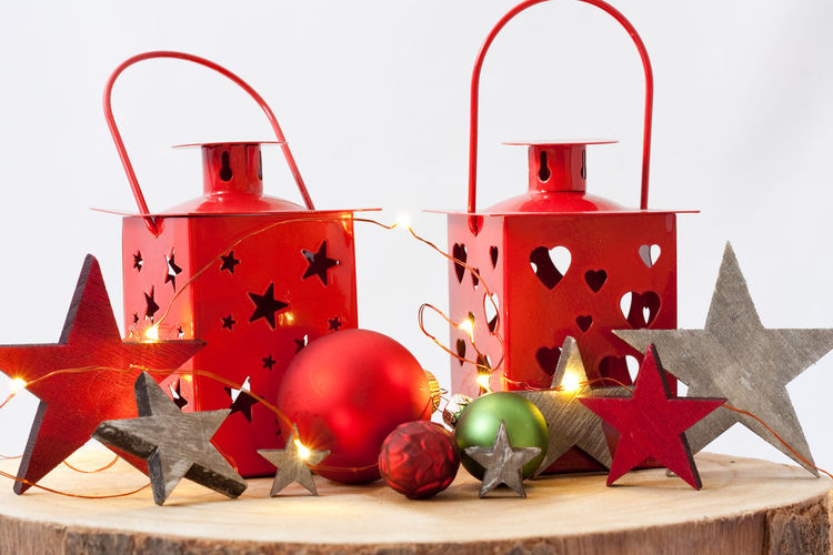 Christmas Decoration Red Celebration Christmas Decoration Holiday Christmas Ornament No People Still Life Indoors  Star Shape Fire Burning Candle Close-up Celebration Event Holiday - Event Event Merry Christmas! Christmas Lights Lantern Lighting Equipment Copy Space Backgrounds