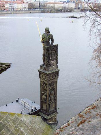 Guardian Prague Praha Column Columns And Pillars Soldier GoldenSword on the Charles Bridge