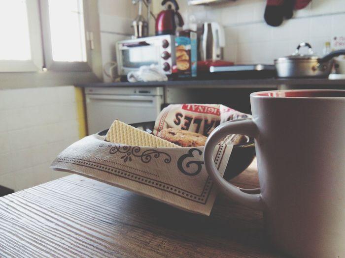 Relaxing Coffee Break Home Loftliving Table Cup Of Coffee Cookies Living Room Kitchen