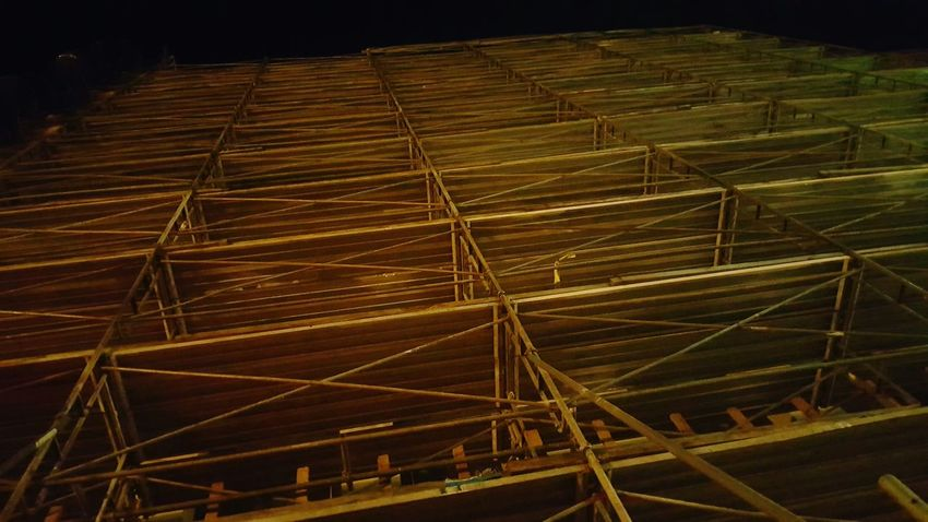Scaffolding at night. Urban Nightsky Walking Around Pattern Pieces