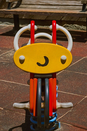 Close-up of yellow toy in playground