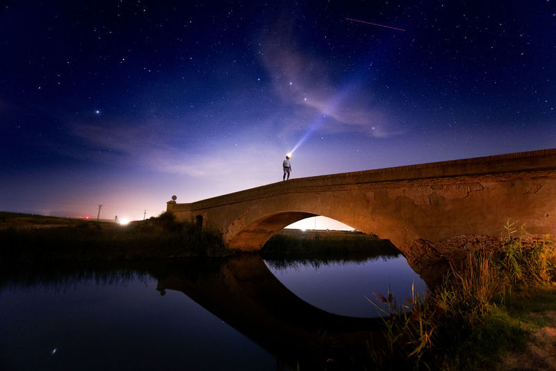 Arch Bridge Architecture Astronomy Beauty In Nature Bridge Bridge - Man Made Structure Built Structure Connection Lake Nature Night No People Outdoors Reflection Scenics - Nature Sky Space Space And Astronomy Star - Space Tranquility Water