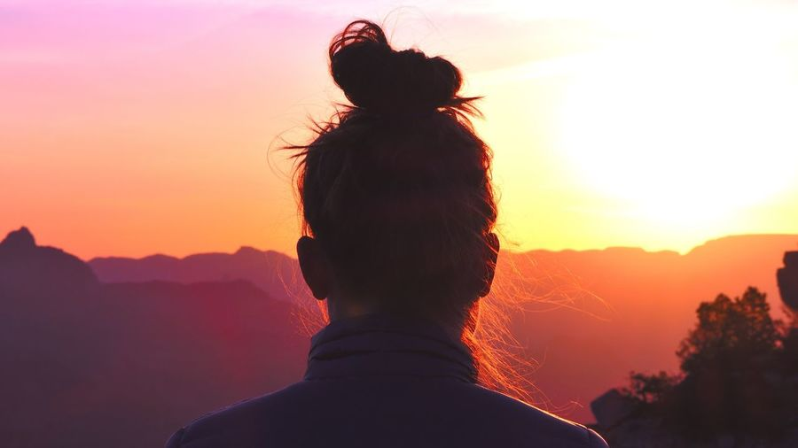 Girl watching sunrise at the grand cayon Arizona Sunrise Grand Canyon First Eyeem Photo Break The Mold