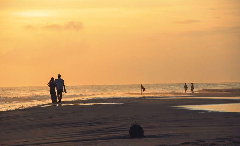 Sea Horizon Over Water Sunset Beach Silhouette Tranquil Scene Vacations Relaxation Beauty In Nature Coastline EyeEm Best Shots - Nature EyeEm Best Shots Travel Beautiful Sri Lanka Vacations Couples TwoIsBetterThanOne Evening Walk