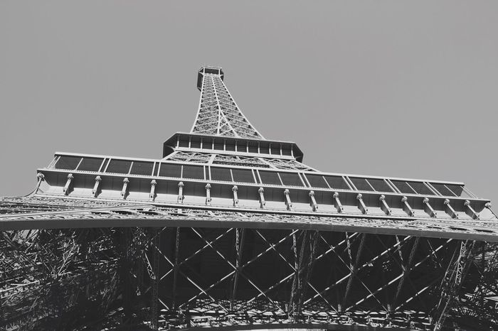 Built Structure Architecture Building Exterior Clear Sky Outdoors Low Angle View Sky Day No People Eiffel Tower Paris France Architecture Blackandwhite Black And White High Love Romantic Building Old Old Buildings City City Life Tower EyeEm Best Shots - Black + White