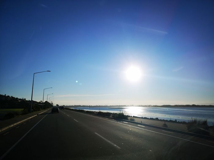 Redcliffs winter afternoon. Water Road Sunset Blue Car Sea Sky Empty Road Highway vanishing point Car Point Of View The Way Forward Scenics Windshield Two Lane Highway
