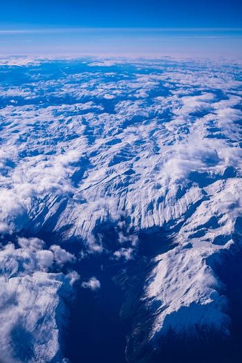 Fjord Land EyeEm Selects Beauty In Nature Aerial View Scenics - Nature Nature Sky Blue Environment No People Tranquil Scene Cloud - Sky Tranquility Idyllic Day Outdoors Landscape High Angle View Snowcapped Mountain