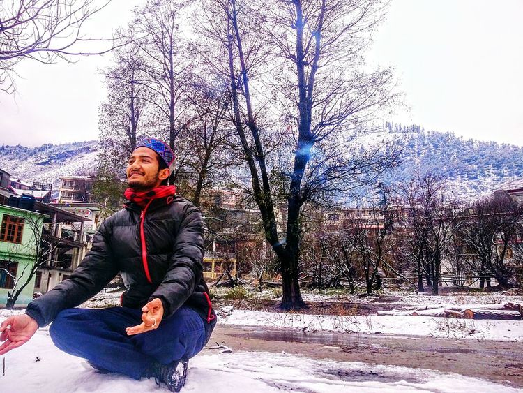 One Person Tree Sitting Winter Outdoors Warm Clothing Day Nature Cold Temperature Phoneography Landscape Indiapictures Himachalpradesh Snow ❄ Kullu Valley Winter Explore Himachal Showcase : January White Himachal Pradesh