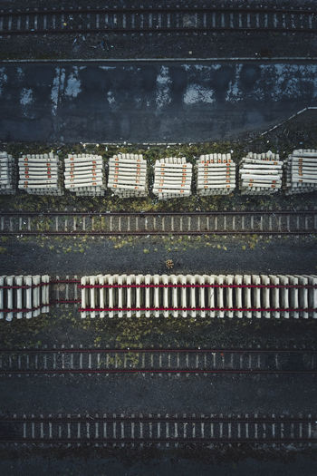 Aerial view of railroad tracks at night