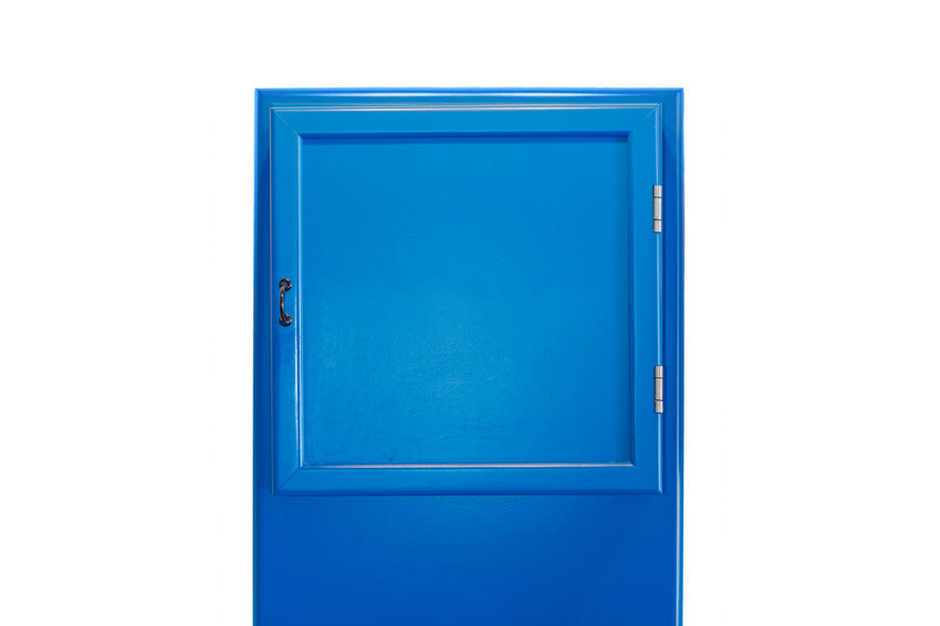 Blue small cabinet door collection without lettering Architecture Blank Blue Built Structure Close-up Closed Copy Space Cut Out Door Empty Entrance Handle Indoors  No People Protection Security Shape Studio Shot Turquoise Colored Wall - Building Feature White Background White Color