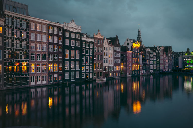 Built Structure Architecture Building Exterior Reflection Water Illuminated Building Waterfront No People Cloud - Sky Sky City Nature Night River Outdoors Dusk Travel Destinations Amsterdam Remo SCarfo Dutch Holland