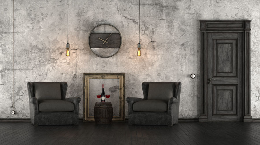 Retro Wall Architecture Armchair Black And White Domestic Room Door Electric Lamp Entrance Frame Furniture Grunge Home Interior Indoors  Living Room Old