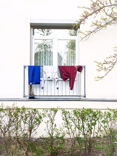 Bleue, blanc, rouge - bonjour French balcony in Berlin!? Colors Minimalism Architecture Houses And Windows Streetphotography Balcony Clothes IPhoneography Nature Check This Out