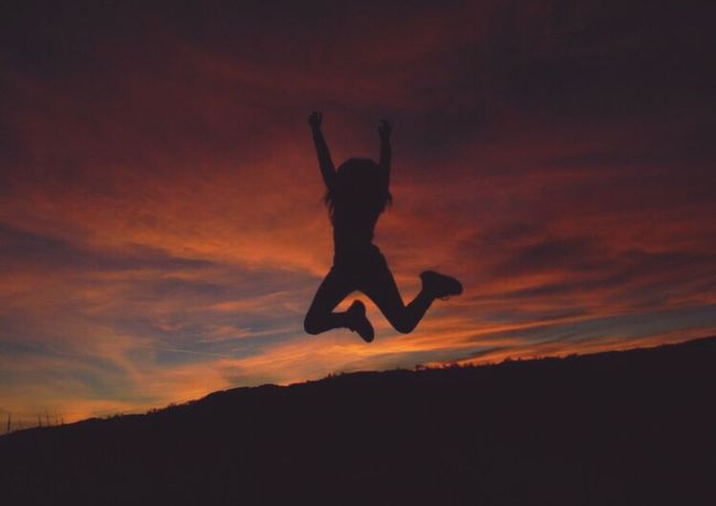 Sunset Silhouette Mid-air Jumping Energetic Full Length Real People Outdoors Excitement