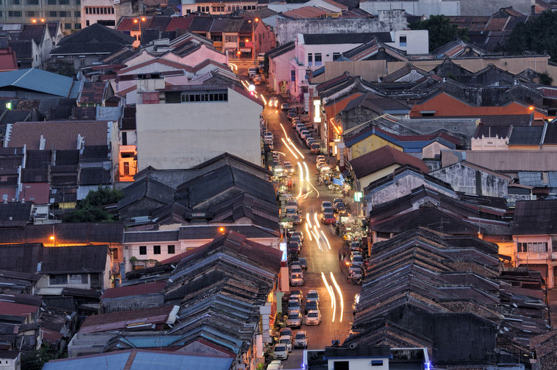 High angle view of Kimberley street in George Town UNESCO zone. Architecture Building Exterior Built Structure City Cityscape Heritage Building High Angle View Illuminated Kimberley Street Light Trail Malaysia Night No People Outdoors Penang Malaysia Roof Top UNESCO World Heritage Site