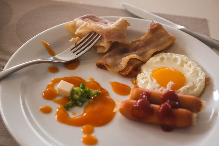 Breakfast is good. Bacon Breakfast Eating Utensil Egg Egg Yolk English Breakfast Food Food And Drink Fork Fried Fried Egg Indoors  Kitchen Utensil Meal Meat No People Plate Pork Processed Meat Ready-to-eat Sunny Side Up Table Table Knife