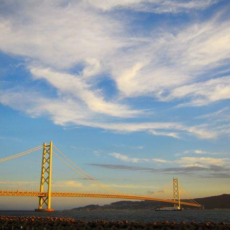 Akashi Oh-hashi. A bridge over Akashi channel between Akashi and Awaji island. Landscape Bridge Akashi Kaikyo Bridge Japan Photography Sunset Blue Sky Feel The Journey Cloud - Sky Nature Tranquil Scene Architecture Sky