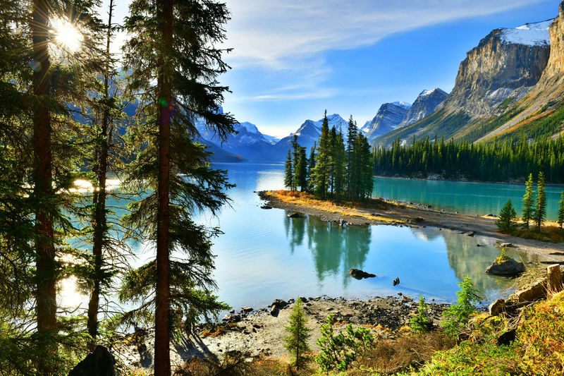 Beautiful Spirit Island in Maligne Lake, Jasper National Park, Alberta, Canada Alberta Canadian Rockies  Jasper National Park❤️ Beauty In Nature Canada Cloud - Sky Day Destination Idyllic Jasper Lake Lake View Maligne Lake Mountain Mountain Range Nature Outdoors Reflection Scenics Sky Sunrise Tranquil Scene Tranquility Tree Water