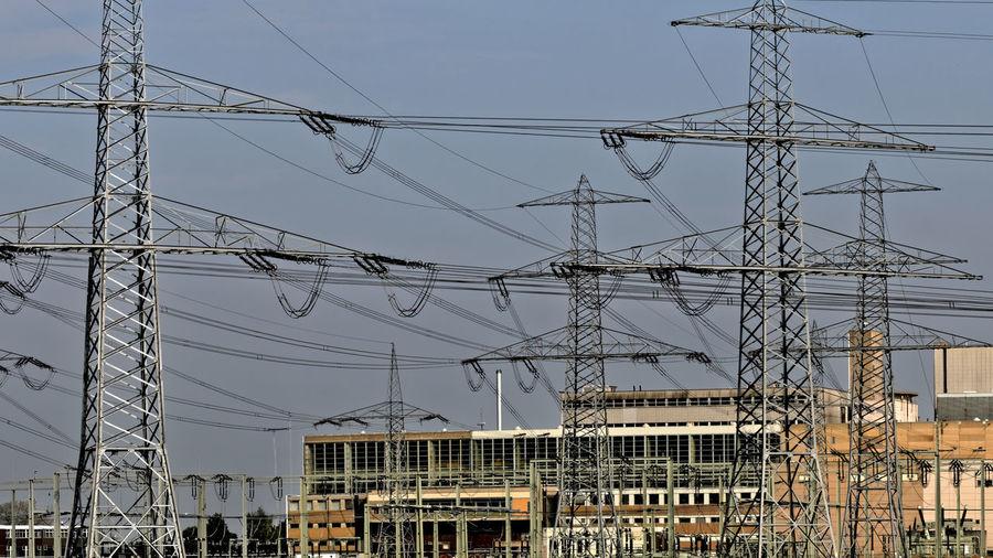 Power plant Landesbergen Germany 2014 Industry Power Plant Landesbergen Germany Robert-Frank-Kraftwerk Landesbergen Robert-Frank-Power Plant Landesbergen Germany Cable Electricity  Electricity Pylon Industrie Technology