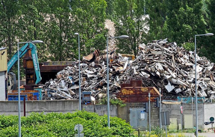 Day Industrial Waste Industry Metal Scrap Nature No People Outdoors Pig Iron Scrap Metal Scrap Metal Merchant Stack Tree
