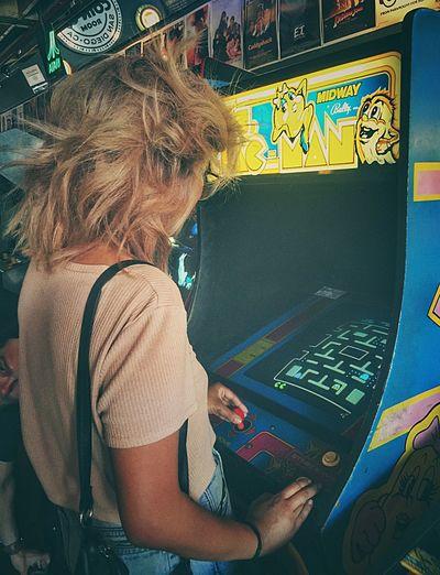 READY! 🕹✨ Machinery Women 80sKid Pacman Mrspacman 80shair Videogames Arcade Games Barcade 1980 Retro Retrogaming Retrogamer Retrogames Ilovethe80s